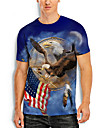 Men\'s Tee T shirt Shirt 3D Print Graphic Prints Eagle Flag Print Short Sleeve Daily Tops Casual Designer Big and Tall Round Neck Blue / Summer