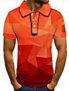 Men\'s Golf Shirt Tennis Shirt 3D Print Graphic Prints Argyle Button-Down Short Sleeve Street Tops Casual Fashion Cool Orange / Sports