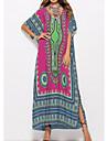 Women\'s Kaftan Dress Maxi long Dress Blue Purple Yellow Wine Orange White Black Half Sleeve Geometric Print Fall Summer Round Neck Elegant Casual 2021 One-Size