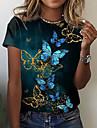 Dámské Motýl Obraz Tričko Grafika Motýl Tisk Kulatý Základní Topy Černá