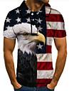 Men\'s Golf Shirt Tennis Shirt 3D Print Graphic Prints Eagle American Flag Button-Down Short Sleeve Street Tops Casual Fashion Cool Blue / Sports