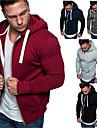Men\'s Full Zip Hoodie Solid Color Zipper Front Pocket Hooded Daily Fitness Basic Thin fleece Hoodies Sweatshirts  Long Sleeve Light Grey Black Dark Gray