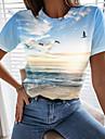 Dámské Dovolená 3D Obraz Tričko Grafika Scéna Tisk Kulatý Základní Plážový styl Topy Vodní modrá