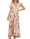 Women\'s A Line Dress Maxi long Dress Wine Red Big red Color blue Blue Green Sky Blue Royal Blue Red Beige Dark Blue Short Sleeve Flower / Floral Split Spring V Neck Casual 2021 S M L XL