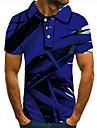 Муж. Рубашка для гольфа Теннисная рубашка 3D печать Геометрический принт Графические принты Кнопка вниз С короткими рукавами Для улицы Верхушки На каждый день Мода Круто Синий / Спорт