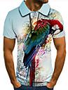 Pánské Golfová košile Tenisové tričko 3D tisk Ptáček Zvíře Tlačítko dolů Krátký rukáv ulice Topy Na běžné nošení Módní Chladný Vodní modrá / Sport