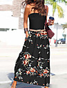Women\'s A Line Dress Maxi long Dress Blue Wine Green Black Sleeveless Floral Print Print Fall Summer Strapless Casual 2021 S M L XL XXL 3XL