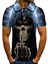 Men's Golf Shirt Tennis Shirt 3D Print Graphic Prints Skull Button-Down Short Sleeve Street Tops Casual Fashion Cool Blue / Sports