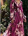 Women's Chiffon Dress Maxi long Dress Purple Long Sleeve Floral Color Block Summer V Neck Holiday Boho Loose 2021 S M L XL XXL