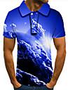 Pánské Golfová košile Tenisové tričko 3D tisk Grafické tisky Země Mraky Tlačítko dolů Krátký rukáv ulice Topy Na běžné nošení Módní Chladný Vodní modrá / Sport