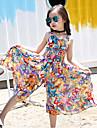 Kids Girls\' Clothing Set Floral Sleeveless Print Vacation Yellow Active
