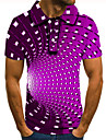 Men\'s Polo 3D Print Optical Illusion Geometry Button-Down Short Sleeve Street Tops Casual Fashion Cool Purple / Sports