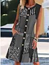 2021 fashion trend summer amazon cross-border explosive women\'s round neck sleeveless print contrast color pocket dress