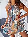 Women\'s Strap Dress Short Mini Dress Blue Sleeveless Print Print Spring Summer Halter Neck Casual / Daily Boho 2021 S M L XL