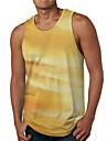 Hombre Camiseta sin mangas Camisetas Interiores Camisa Impresion 3D Degradado Estampados Estampado Sin Mangas Diario Tops Casual De Diseno Grande y alto Escote Redondo Amarillo / Verano