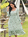 Women\'s Swing Dress Midi Dress Purple Green Short Sleeve Print Spring Summer Casual / Daily 2021 M L XL 2XL 3XL