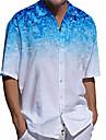 男性用 シャツ 3Dプリント グラフィック プラスサイズ 3Dプリント ボタンダウン 半袖 カジュアル トップの カジュアル ファッション ストリートファッション 高通気性 ブルー / スポーツ