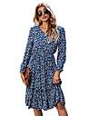 idealsanxun womens v neck floral pattern long sleeve midi dress(navy, m)