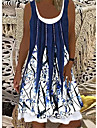 Women\'s T Shirt Dress Tee Dress Knee Length Dress Blue and White Black apricot Blue red white Red gray blue Blue Black Sleeveless Floral Color Gradient Abstract Print Spring Summer Round Neck Vintage