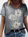 Dámské Květinový motiv Sedmikráska Obraz Tričko Květinový Tisk Do V Základní Topy Šedá
