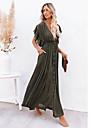 여성용 스윙 드레스 맥시 드레스 육군 녹색 주황색 녹 빨강 화이트 블랙 짧은 소매 한 색상 가을 봄 V 넥 보호 비치 루즈핏 2021 원사이즈