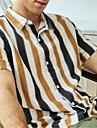 Men\'s Shirt Striped Button-Down Short Sleeve Casual Tops Cotton Casual Fashion Breathable Comfortable White