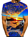 Men\'s Tee T shirt Shirt 3D Print Graphic Prints Beach Print Short Sleeve Daily Tops Casual Designer Big and Tall Round Neck Blue / Summer
