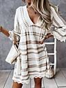 Women\'s A Line Dress Short Mini Dress Black Apricot Half Sleeve Geometric Lace Print Spring Summer V Neck Casual / Daily Holiday 2021 S M L XL 2XL