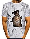 男性用 Tシャツ シャツ 3Dプリント 猫 グラフィック プリント 半袖 日常 トップの カジュアル デザイナー 大きくて背が高い ラウンドネック ホワイト / 夏