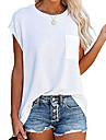 Peacameo dámské letní ležérní topy bez rukávů trička s dlouhým rukávem s kapsou (bílá, malá)