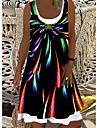 Women\'s T Shirt Dress Tee Dress Knee Length Dress Orange Black Light Green Short Sleeve Print Spring Summer Casual / Daily 2021 S M L XL XXL XXXL