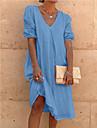 Women\'s A Line Dress Knee Length Dress Blue Yellow Blushing Pink Orange White Black Short Sleeve Solid Color Summer Casual 2021 S M L XL 2XL 3XL