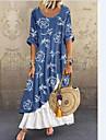 Women\'s Swing Dress Maxi long Dress Blue Short Sleeve Floral Print Patchwork Spring Summer Round Neck Casual 2021 S M L XL XXL XXXL