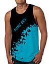 Hombre Camiseta sin mangas Camisetas Interiores Impresion 3D Tie-dye Estampados Letra Estampado Sin Mangas Diario Tops Casual De Diseno Grande y alto Azul Piscina