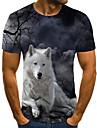 Hombre Unisexo Tee Camiseta Impresion 3D Estampados Lobo Tallas Grandes Estampado Manga Corta Casual Tops Basico Moda De Diseno Grande y alto Gris