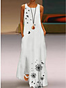 Women\'s A Line Dress Maxi long Dress Daisy Yellow Leaves white Butterfly white Dandelion green Daisy Blue Cartoon flower Leaves yellow Sleeveless Floral Pocket Print Spring Summer Round Neck Casual