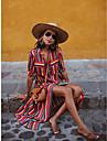Women\'s Swing Dress Maxi long Dress Rainbow Bar Black and white strips Half Sleeve Rainbow Striped Split Lace up Print Spring Summer Shirt Collar Stylish Casual Boho Beach 2021 S M L XL XXL