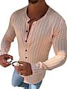 בגדי ריקוד גברים חולצה פסים כפתור למטה שרוול ארוך קזו\'אל צמרות כותנה יום יומי אופנתי נושם נוח צווארון עגול ורוד מסמיק