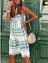 Women\'s A Line Dress Knee Length Dress Green Sleeveless Stripes Print Spring Summer V Neck Casual / Daily Holiday Beach 2021 S M L XL XXL XXXL