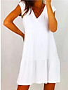 Women\'s A Line Dress Knee Length Dress White Sleeveless Solid Color Spring Summer Casual / Daily 2021 S M L XL XXL XXXL / Cotton / Cotton