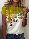 Női Virágos téma Pillangó Festmény Póló Virágos Pillangó Színes Nyomtatott Kerek Alap Felsők Medence Bíbor Sárga