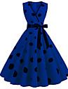 Women\'s A Line Dress Midi Dress Blue Yellow Green Black Red Sleeveless Dot Summer Vintage 2021 S M L XL XXL