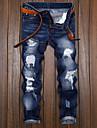 Herren Vintage Strassenmode Jeans Chinesisch Denim Baumwolle Schlank Alltag Taeglich Hose Gradient In voller Laenge Tasche Patchwork Dunkel Blau