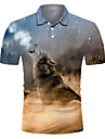 Pánské Golfová košile Tenisové tričko 3D tisk Vlk Zvíře Tlačítko dolů Krátký rukáv ulice Topy Na běžné nošení Módní Chladný Prodyšné Šedá / Sport
