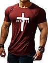 men\'s short sleeve shirts cross believe printed casual top tight blouse for men (large, 09-red)