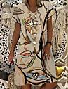Női Pólóruha Térdig érő ruha Medence Bíbor Khakizöld Lóhere Rövid ujjú Nyomtatott Absztrakt Nyomtatott Tavasz Nyár V-alakú Alkalmi Szabadság 2021 S M L XL XXL 3XL