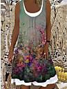 Women\'s Shift Dress Knee Length Dress Green Sleeveless Floral Print Spring Summer Boat Neck Casual Holiday 2021 S M L XL XXL 3XL