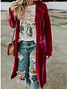 여성용 코트 캐쥬얼 홀리데이 일상복 가을 봄 긴 코트 보통 방풍 웜 시크&모던 자켓 긴 소매 한 색상 주머니 옐로우 루비 브라운