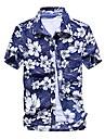 pánská ležérní tištěná rychleschnoucí hawaii plážová košile s krátkým rukávem a slunečníkem modro-bílá
