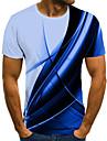 Муж. Универсальные Футболки Футболка Рубашка 3D печать Контрастных цветов Графические принты Большие размеры С принтом С короткими рукавами Повседневные Верхушки / Круглый вырез
